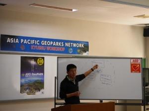 Yeung Ka-ming, Hong Kong Global Geopark, presents his ideas towards the representatives